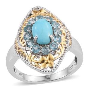 Arizona Sleeping Beauty Turquoise, Madagascar Paraiba Apatite 14K YG and Platinum Over Sterling Silver Ring (Size 9.0) TGW 2.300 cts.