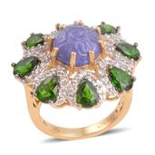 Tanzanite Carved, Multi Gemstone 14K YG Over Sterling Silver Ring (Size 6.5) TGW 8.69 cts.
