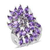 Simulated Purple Diamond, Purple Austrian Crystal Stainless Steel Ring (Size 6.0) TGW 20.00 cts.