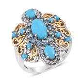 Arizona Sleeping Beauty Turquoise, Electric Blue Topaz, White Topaz 14K YG and Platinum Over Sterling Silver Openwork Statement Ring (Size 7.0) TGW 4.18 cts.