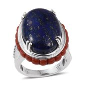 Lapis Lazuli, Mediterranean Coral Platinum Over Sterling Silver Statement Ring (Size 6.0) TGW 26.90 cts.