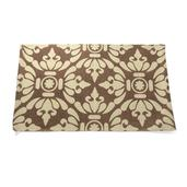 Brown and Cream 100% Cotton Rich Damask Bath Rug (30x19 In)