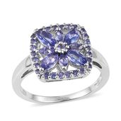 Tanzanite Platinum Over Sterling Silver Ring (Size 6.0) TGW 1.92 cts.
