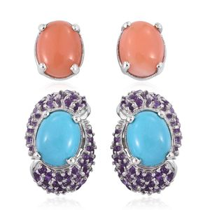 Set of 2 Arizona Sleeping Beauty Turquoise, Melon Coral, Amethyst Platinum Over Sterling Silver Stud Earrings with Ear Jacket TGW 7.27 cts.