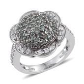 Narsipatnam Alexandrite (Rnd), White Zircon Ring in Platinum Overlay Sterling Silver Nickel Free (Size 8.0) TGW 2.200 cts.