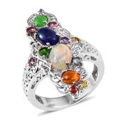 Multi Color Ethiopian Welo Opal, Multi Gemstone Platinum Over Sterling Silver Openwork Elongated Ring (Size 5.0) TGW 3.320 cts.