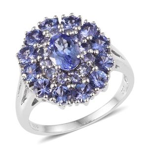 Tanzanite Platinum Over Sterling Silver Ring (Size 7.0) TGW 3.75 cts.