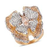 Simulated Champagne Diamond, Austrian Crystal ION Plated YG Stainless Steel Butterfly Ring (Size 6.0) TGW 5.000 cts.
