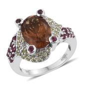 Alexite, Hebei Peridot, Orissa Rhodolite Garnet Platinum Over Sterling Silver Ring (Size 9.0) TGW 7.140 cts.