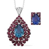 Color Change Fluorite, Orissa Rhodolite Garnet Platinum Over Sterling Silver Pendant With Chain (20 in) TGW 12.80 cts.