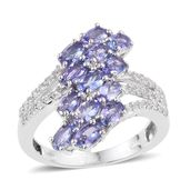 Tanzanite, White Topaz Platinum Over Sterling Silver Bypass Ring (Size 7.0) TGW 3.08 cts.
