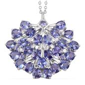 Tanzanite Platinum Over Sterling Silver Pendant With Chain (20 in) TGW 9.30 Cts.