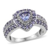 Tanzanite, White Topaz Platinum Over Sterling Silver Ring (Size 5.0) TGW 1.980 cts.