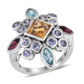 Jewel Studio by Prachi Multi Gemstone Platinum Over Sterling Silver Ring (Size 5.0) TGW 5.040 cts.