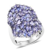 Tanzanite Platinum Over Sterling Silver Cluster Ring (Size 8.0) TGW 9.810 cts.