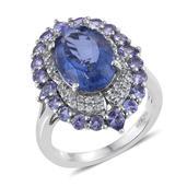 Jewel Studio by Prachi Color Change Fluorite, Tanzanite, White Topaz Platinum Over Sterling Silver Ring (Size 7.0) TGW 8.600 cts.