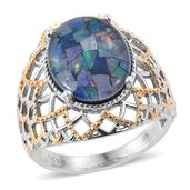Jewel Studio by Shweta Australian Mosaic Opal 14K YG and Platinum Over Sterling Silver Openwork Ring (Size 7.0) TGW 5.700 cts.
