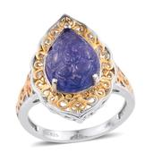 Tanzanite 14K YG and Platinum Over Sterling Silver Ring (Size 7.0) TGW 4.65 cts.