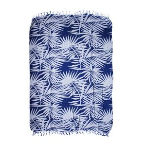 Royal Blue Leaf Print 100% Rayon Sarong (71x47 in)