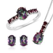 Northern Lights Mystic Topaz, Orissa Rhodolite Garnet Platinum Over Sterling Silver Ring (Size 5), Earrings and Pendant With Chain (20 in) TGW 5.75 cts.