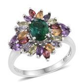 Lab Created Emerald, Multi Gemstone Platinum Over Sterling Silver Ring (Size 7.0) TGW 3.240 cts.