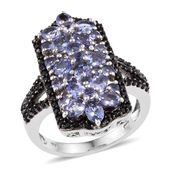 Tanzanite, Thai Black Spinel Platinum Over Sterling Silver Ring (Size 6.0) TGW 4.540 cts.