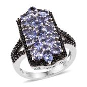 Tanzanite, Thai Black Spinel Platinum Over Sterling Silver Ring (Size 7.0) TGW 4.540 cts.