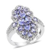 Tanzanite, White Topaz Platinum Over Sterling Silver Elongated Split Ring (Size 7.0) TGW 3.78 cts.