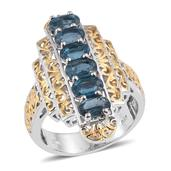 Teal Kyanite 14K YG and Platinum Over Sterling Silver Ring (Size 7.0) TGW 3.550 cts.