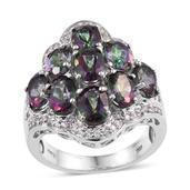 Northern Lights Mystic Topaz, White Zircon Platinum Over Sterling Silver Ring (Size 7.0) TGW 8.850 cts.
