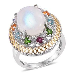 Sri Lankan Rainbow Moonstone, Multi Gemstone 14K YG and Platinum Over Sterling Silver Ring (Size 7.0) TGW 12.200 cts.