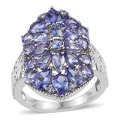 Tanzanite Platinum Over Sterling Silver Cluster Ring (Size 10.0) TGW 5.350 cts.