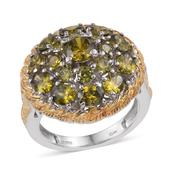 KARIS Collection - Simulated Green Diamond ION Plated 18K YG and Platinum Bond Brass Ring (Size 9.0) TGW 8.700 cts.