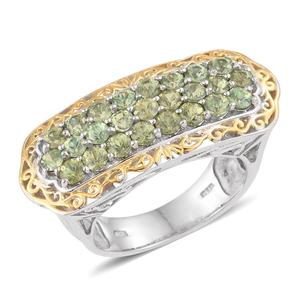 Ambanja Demantoid Garnet 14K YG and Platinum Over Sterling Silver Ring (Size 5.0) TGW 3.500 cts.
