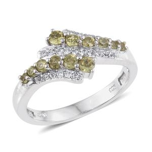 Ambanja Demantoid Garnet, White Topaz Platinum Over Sterling Silver Bypass Ring (Size 6.0) TGW 1.132 cts.