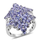 Tanzanite Platinum Over Sterling Silver Ring (Size 8.0) TGW 3.75 cts.