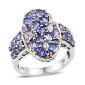 Tanzanite, White Zircon 14K YG and Platinum Over Sterling Silver Ring (Size 7.0) TGW 4.540 cts.
