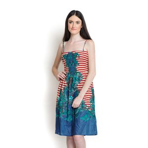 Red and Blue 100% Cotton Sundress with Elastic Waist Band (L/XL)