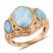 Larimar 14K YG Over Sterling Silver Openwork Trilogy Ring (Size 7.0) TGW 9.950 cts.