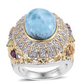 Larimar, Multi Gemstone 14K YG and Platinum Over Sterling Silver Statement Ring (Size 6.0) TGW 12.34 cts.