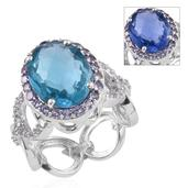 Color Change Fluorite, Tanzanite, White Topaz Platinum Over Sterling Silver Ring (Size 9.0) TGW 12.840 cts.