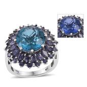 Color Change Fluorite, Catalina Iolite Platinum Over Sterling Silver Ring (Size 6.0) TGW 12.20 cts.