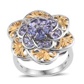 Tanzanite 14K YG and Platinum Over Sterling Silver Ring (Size 7.0) TGW 2.26 cts.