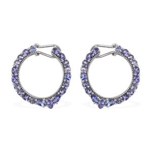 Tanzanite Platinum Over Sterling Silver Omega Clip Hoop Earrings TGW 7.65 cts.