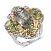 Royal Jaipur Green Amethyst, Hebei Peridot, Ruby 14K YG and Platinum Over Sterling Silver Openwork Statement Ring (Size 7.0) TGW 11.300 cts.