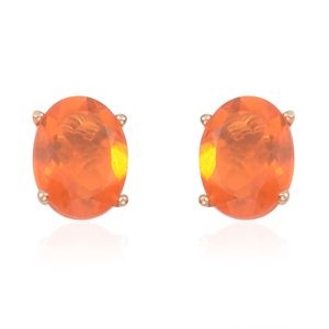 14K YG Jalisco Fire Opal Stud Earrings TGW 1.714 Cts.