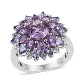 Bahia Amethyst, Tanzanite, White Topaz Platinum Over Sterling Silver Ring (Size 8.0) TGW 4.950 cts.