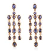 Tanzanite 14K YG Over Sterling Silver Chandelier Earrings TGW 6.80 cts.