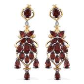 Mozambique Garnet 14K YG and Platinum Over Sterling Silver Chandelier Earrings TGW 6.97 Cts.