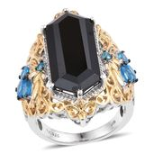 Thai Black Spinel, Malgache Neon Apatite 14K YG and Platinum Over Sterling Silver Ring (Size 7.0) TGW 18.00 cts.